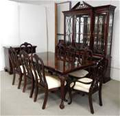 Chippendale style banded mahogany dining room suite