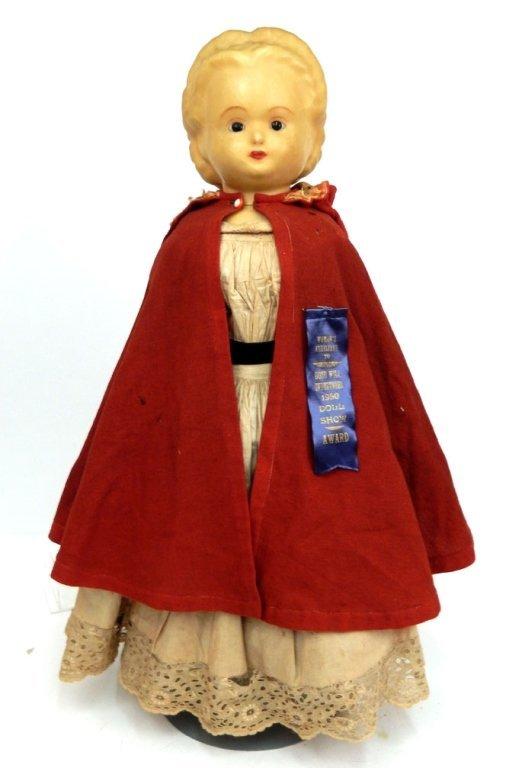 Pumpkin head wax over papier mache shoulder head doll