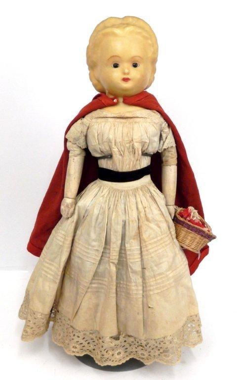 Pumpkin head wax over papier mache shoulder head doll - 3