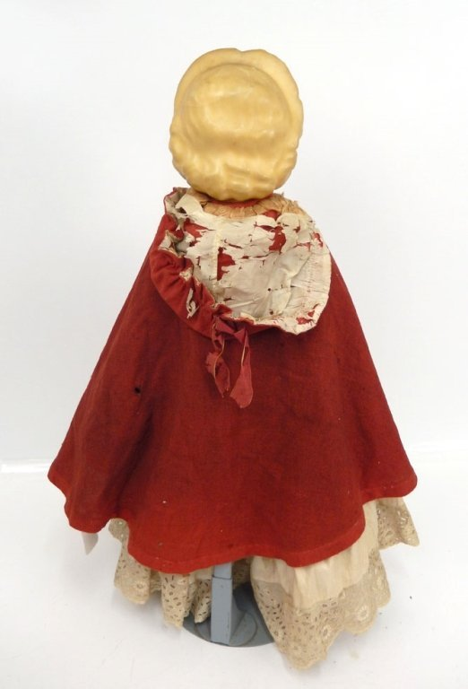Pumpkin head wax over papier mache shoulder head doll - 4