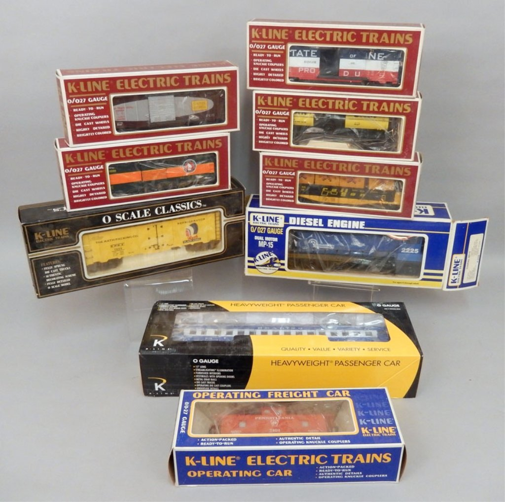 Nine K-Line Electric trains in original boxes