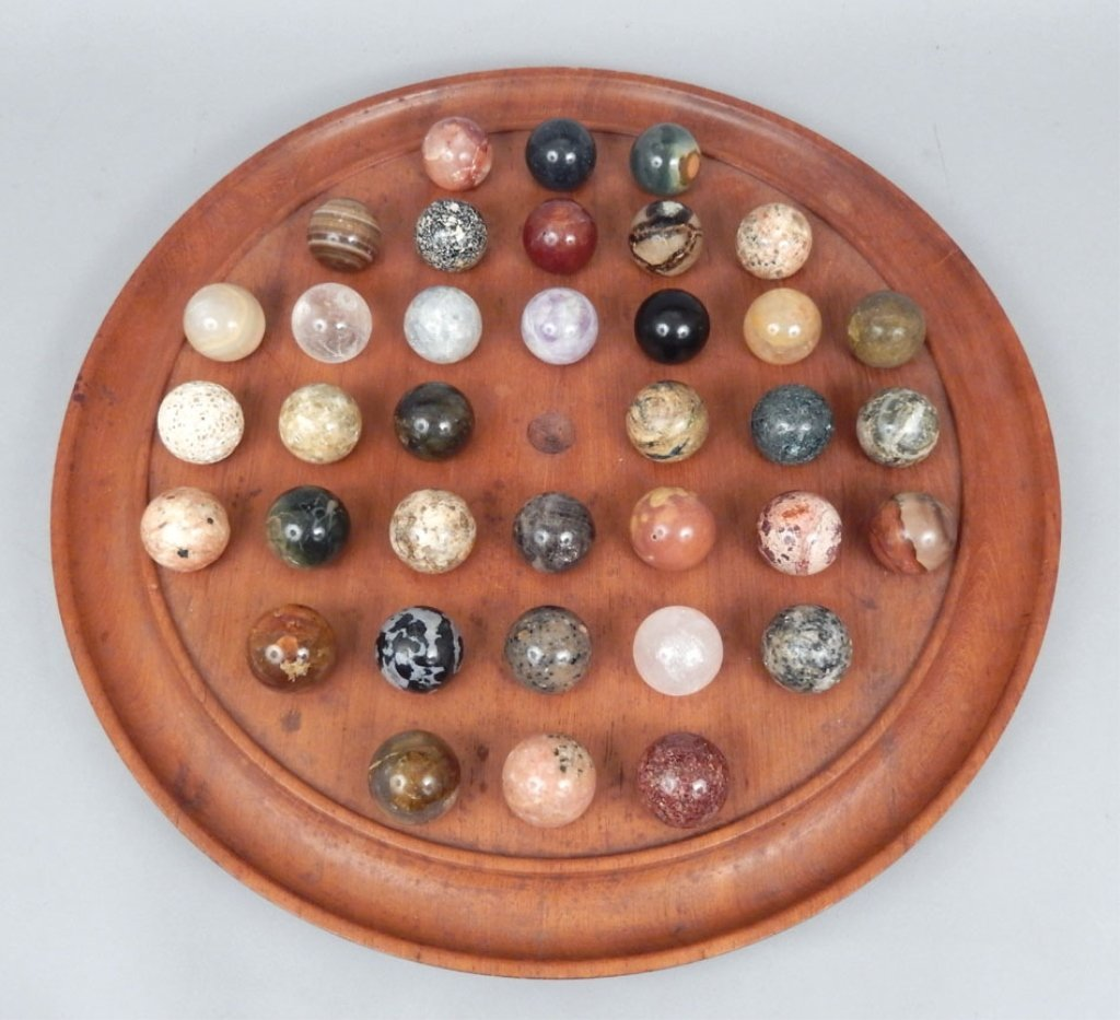 Large Chinese checkers set with stone marbles