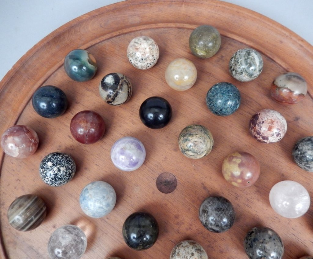 Large Chinese checkers set with stone marbles - 2