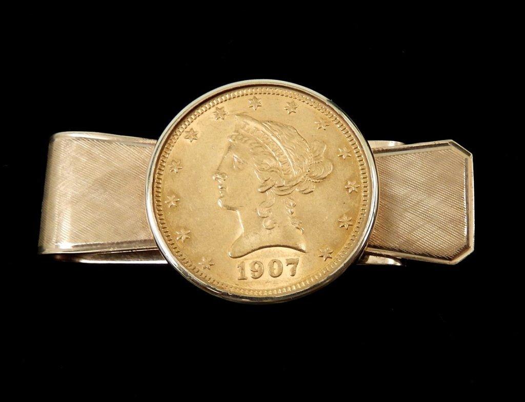 1907 US $10 Liberty head gold coin money clip