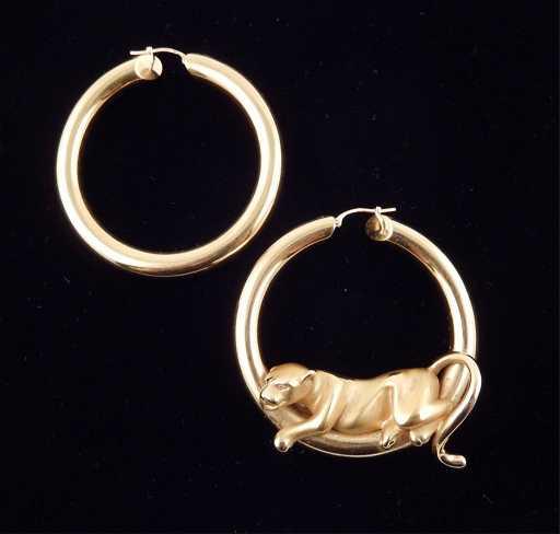 Charles Garnier 18k Gold Hoop Panther Earrings