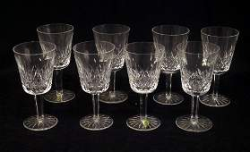 Set of eight Waterford Lismore crystal water goblets