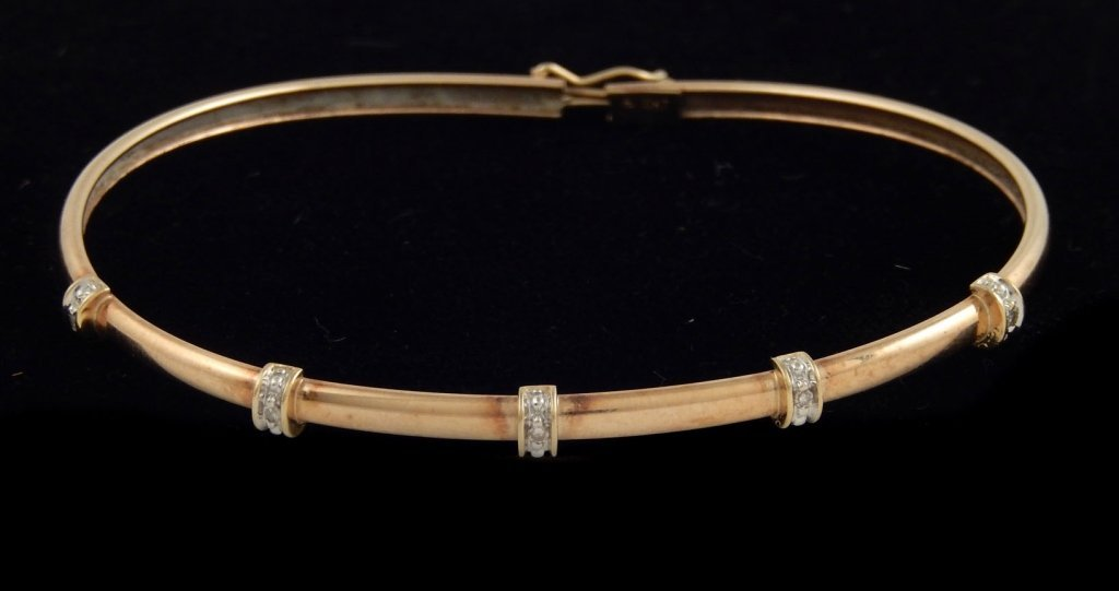 10k gold and diamond bangle bracelet