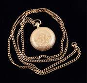 Ladies gold pocket watch with 14k gold chain