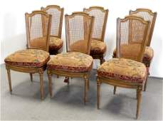 Set of six Louis XVI style chairs
