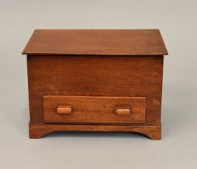 Folk Art Miniature Mahogany New England Blanket Chest