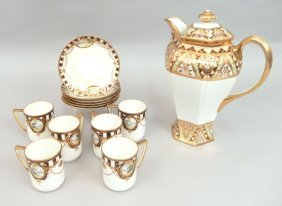Hand Painted Nippon Chocolate Pot And Six Demitasse