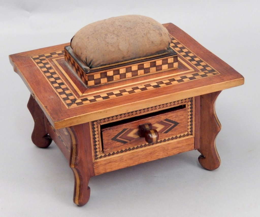 Parquetry inlaid sewing box