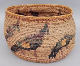 Native American Coil Basket With Bird Decoration
