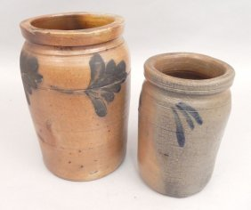 Two Stoneware Crocks, Cobalt Decoration