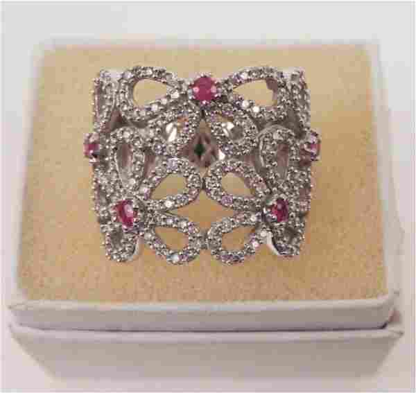 14k white gold, diamonds and rubies ring