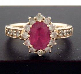 Ladies 10k Gold And Diamond Ring
