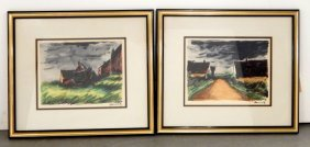 Maurice De Vlaminck Two Washes And Inks On Paper