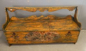 Painted Pennsylvania Dutch Decorated Bench
