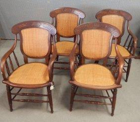 Set Of Four Walnut Armchairs