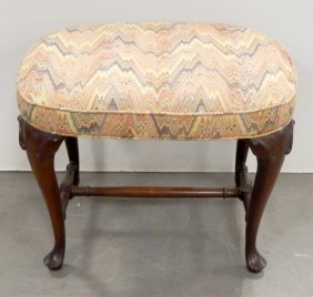 Mahogany Queen Anne Style Upholstered Footstool
