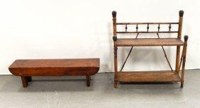 Pine Kneeling Bench And Bamboo Hanging Shelf