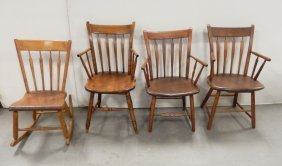Three Arrow Back Armchairs And An Arrowback Rocker