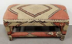 Parson's Bench Covered In Old Kilim Rug