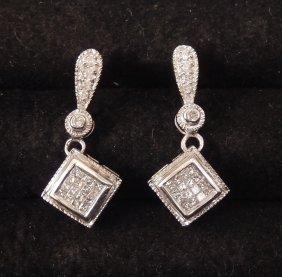 10k White Gold And Diamond Drop Earrings,