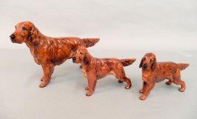 Three Royal Doulton Irish Setter Dog Figurines