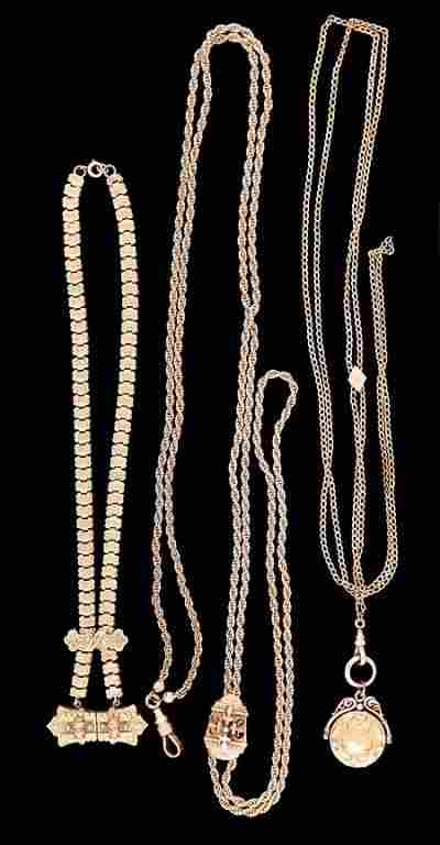 Two Victorian pocket watch chains and a necklace