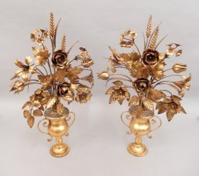 Pair Of Gilt Metal Mantle Decorations
