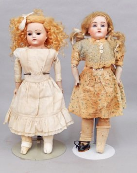 Two German Bisque Shoulder Head Dolls