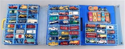 Large grouping of toy cars in carrying case