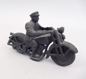 Hubley Cast Iron Patrol Motorcycle