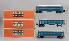 Three Lionel Prewar O Gauge Blue Passenger Cars In