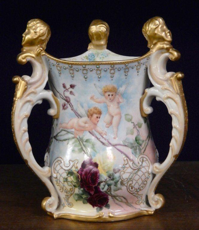 American Belleek hand painted porcelain three handled