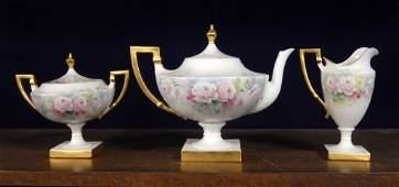 American Belleek hand painted porcelain three piece tea