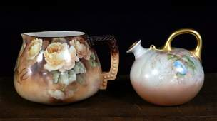 Two American Belleek hand painted porcelain pitchers
