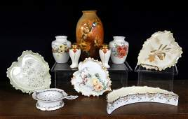 Grouping of hand painted American Belleek and porcelain