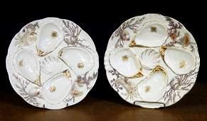 Pair of Weismar porcelain oyster plates