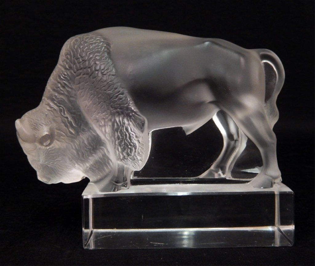 Lalique France crystal bison paperweight