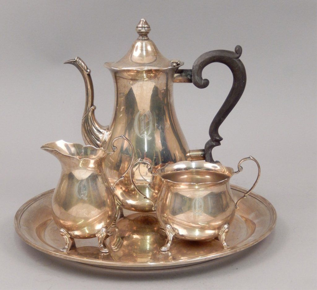 Sterling silver four piece coffee service set