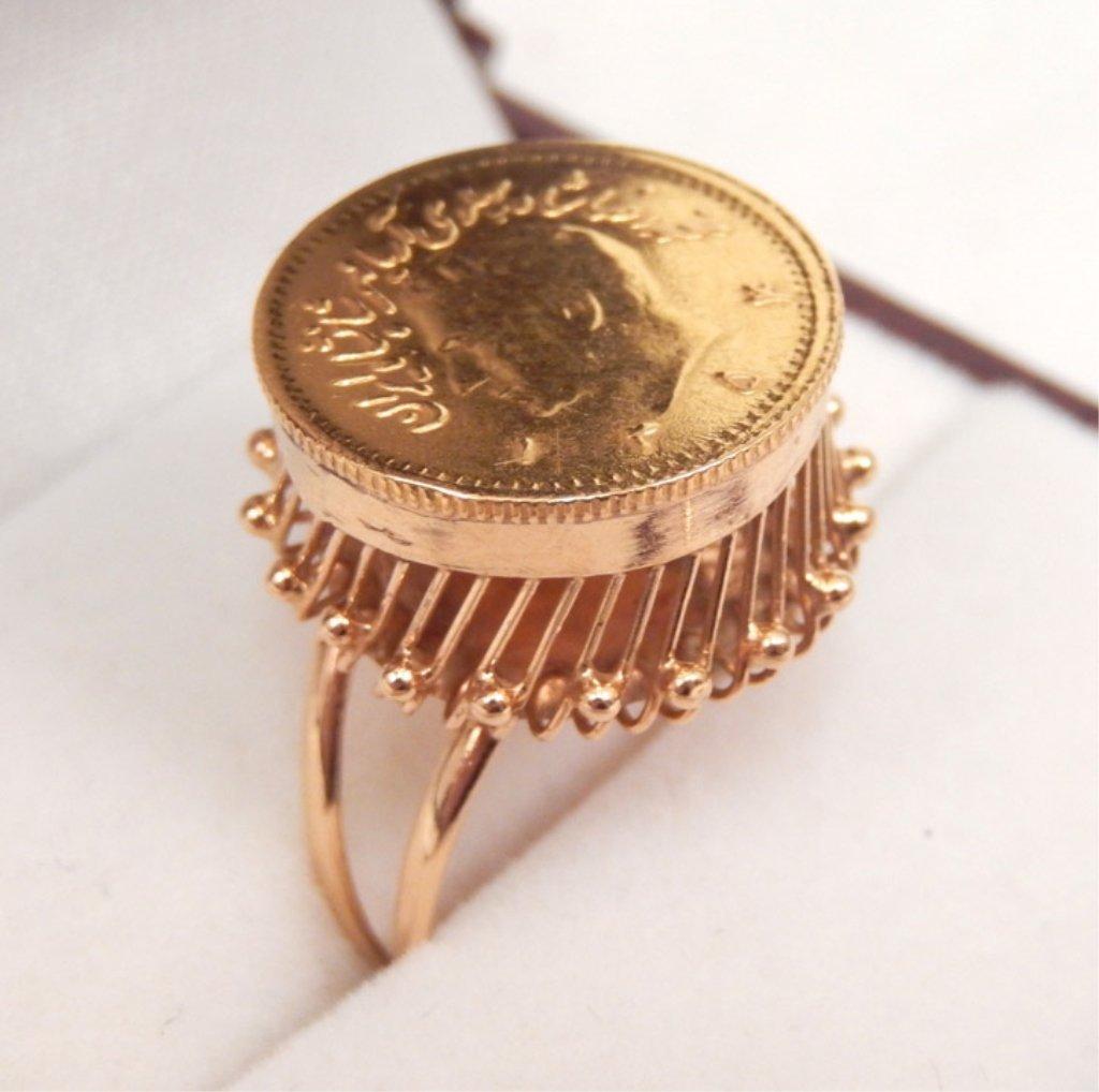 Iranian 1/4 Pahlavi gold coin ring