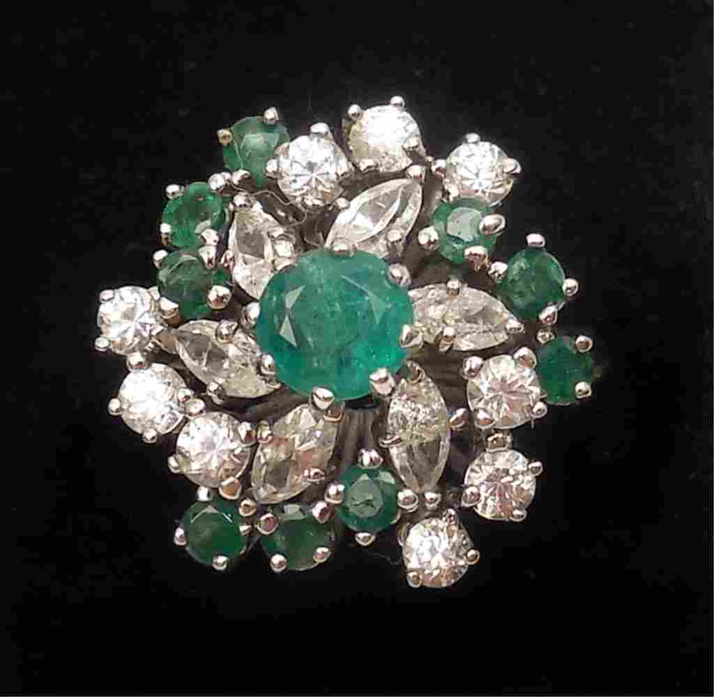 14k white gold and emerald cluster ring
