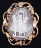 Three Graces Victorian cameo pin