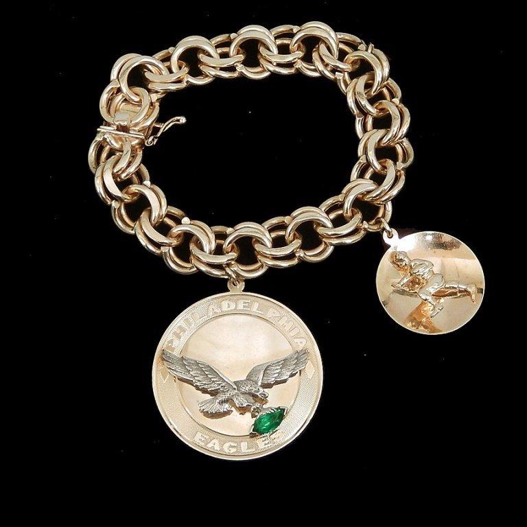 14k gold Philadelphia Eagles charm bracelet