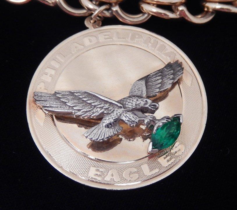 14k gold Philadelphia Eagles charm bracelet - 2