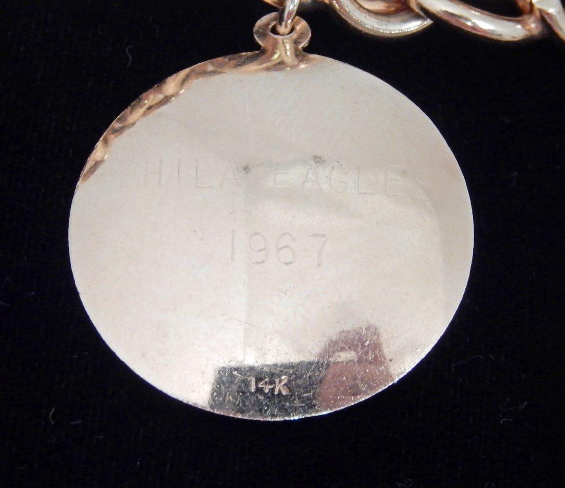 14k gold Philadelphia Eagles charm bracelet - 4