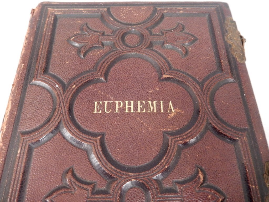 Gilt embossed leather Victorian photograph album with - 2