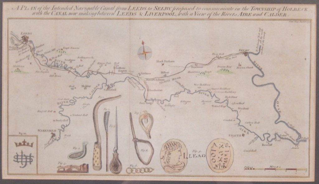 Hand colored map 1774 Leeds and Liverpool